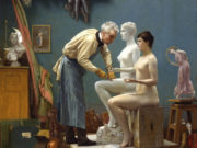 "Жан-Леон Жером (Jean-Leon Gerome) ""Working in Marble (or The Artist Sculpting Tanagra) Self-portrait"""