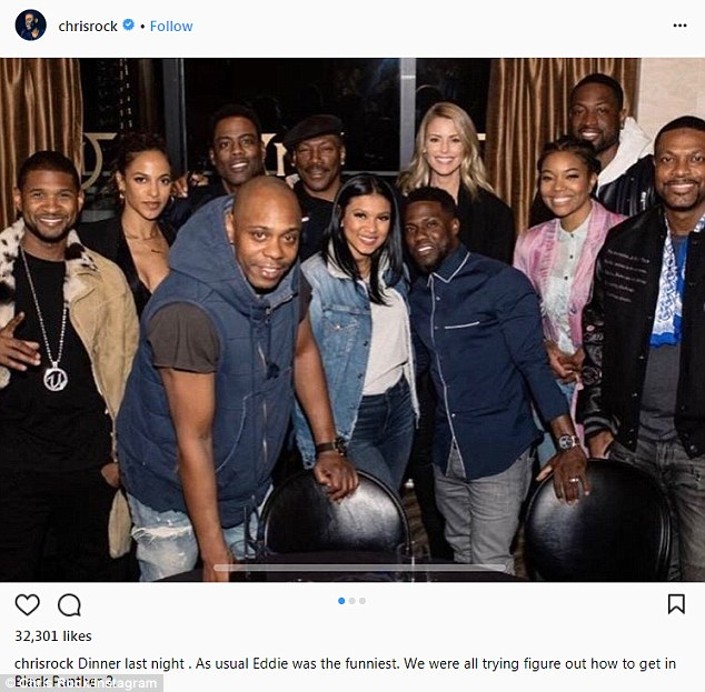 The gang: The next day Rock shared a group photo to Instagram with the funny caption,