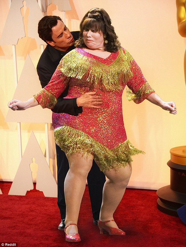 Dancing with myself: Travolta gets to shake it with his character Edna Turnblad from the movie Hairspray