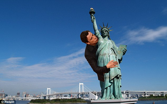 Give me your cheek! Travolta puckers up and wraps himself around the Statue of Liberty