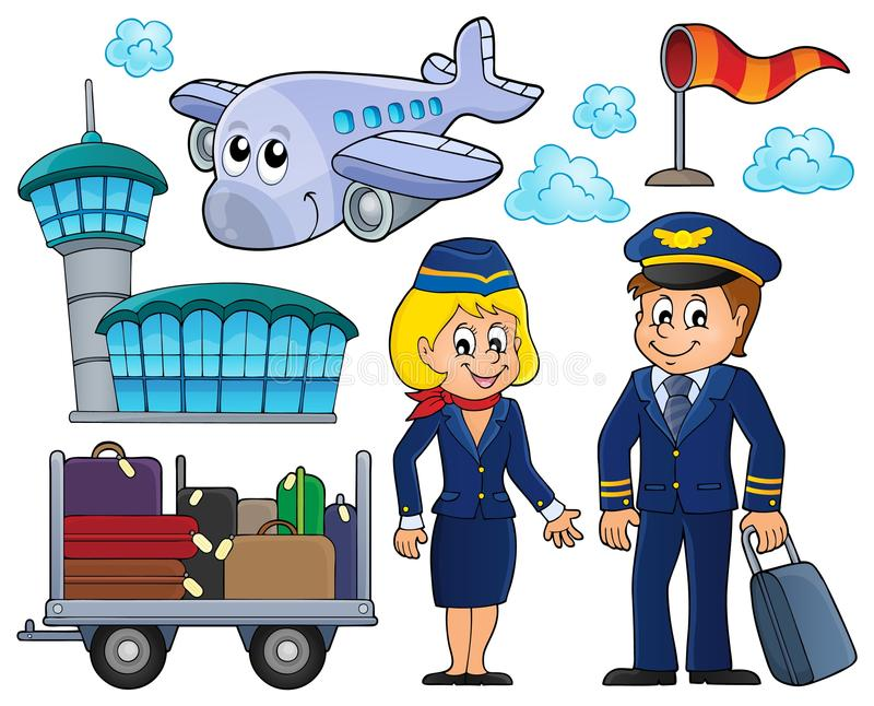 Aviation thematic set 1 vector illustration