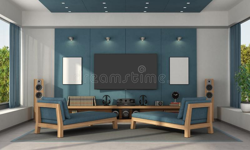 Blue home cinema of a modern villa. With tv set on concrete panels and two chaise lounges - 3d rendering stock illustration