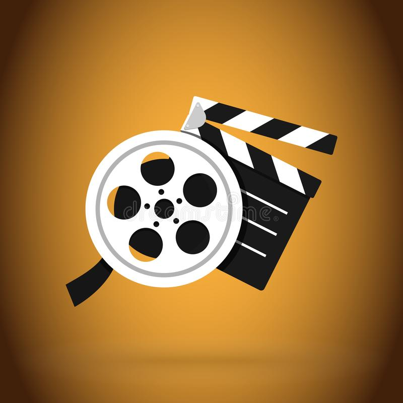 Cinema clapper and video film tape. Simple vector modern design illustration. Eps 10 royalty free illustration