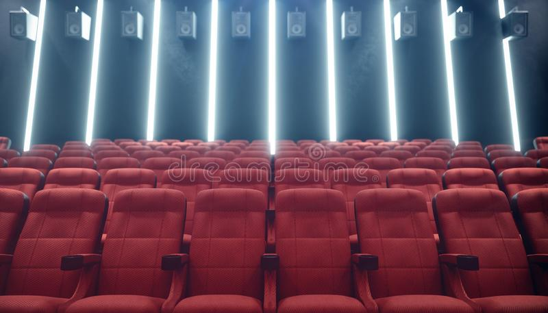 Cinema hall with blank screen and empty seats. Modern design with striking lighting, neon lighting. Audio system on the. Walls. Cinema hall without people stock illustration