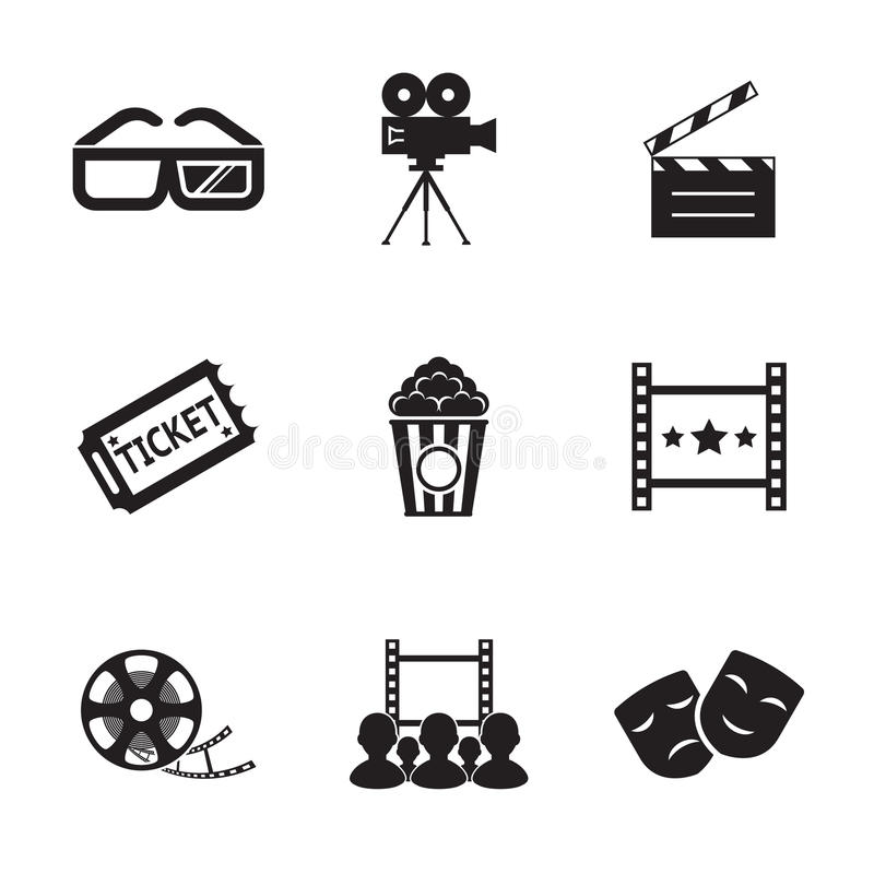 Cinema and Movie icon set modern trendy silhouette. Isolated vector illustration royalty free illustration