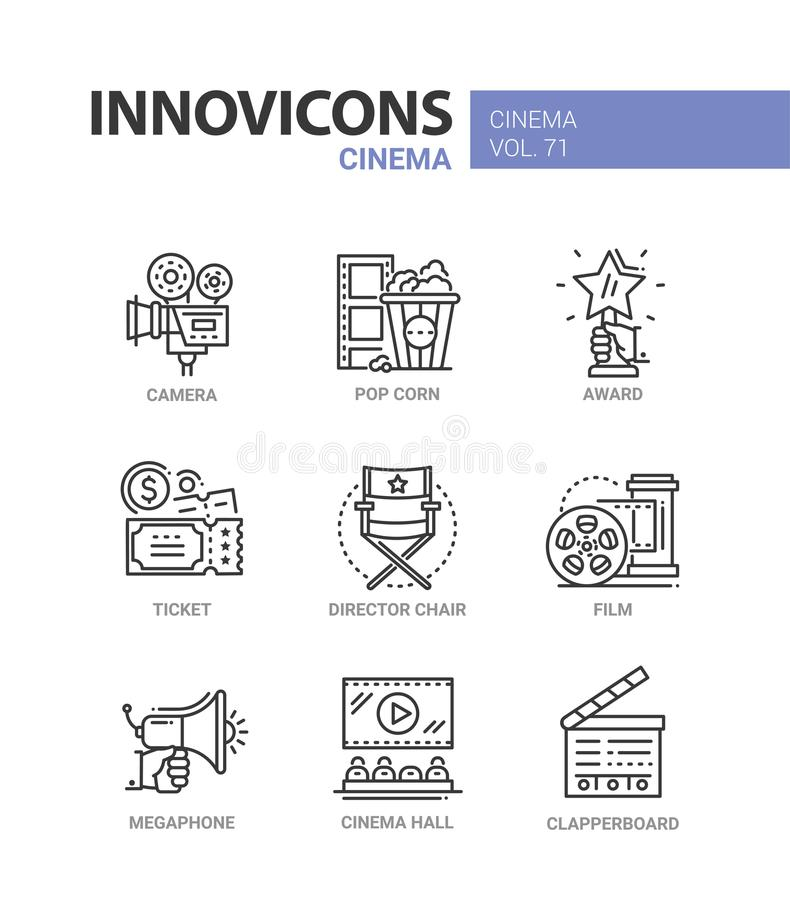 Cinema - set of modern thin line design icons. On white background. High quality red and blue pictograms. Camera, pop corn, award, ticket, director chair, film stock illustration