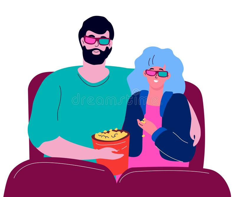 Couple in the cinema - modern colorful flat design style illustration. On white background. High quality composition with a boy and a girl hugging, watching a royalty free illustration