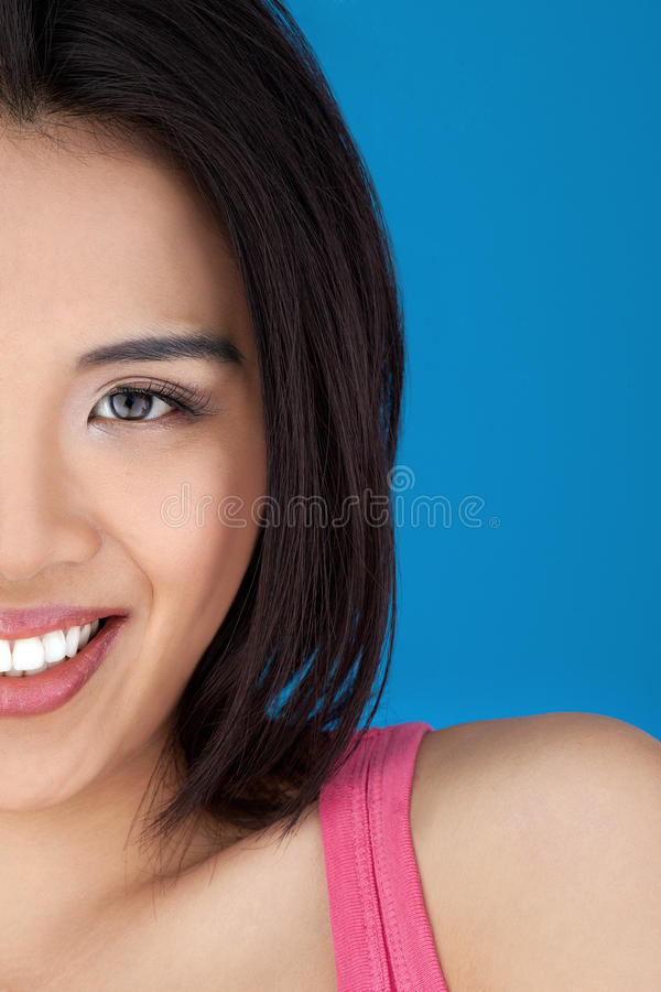 Cropped head portrait of an Asian woman royalty free stock images
