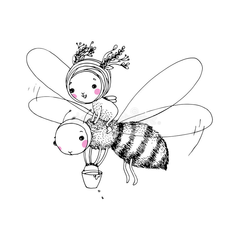 Cute little fairy and the bee. Hand drawing objects on white background. Vector illustration stock illustration