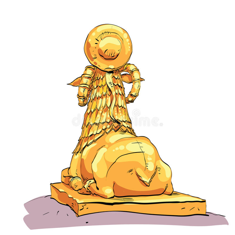 Fantastic Golden sheep from tales. Fantasy sculpture of mountain sheep with the Cobra on the head. Mythical animal. Fictional sculpture royalty free illustration