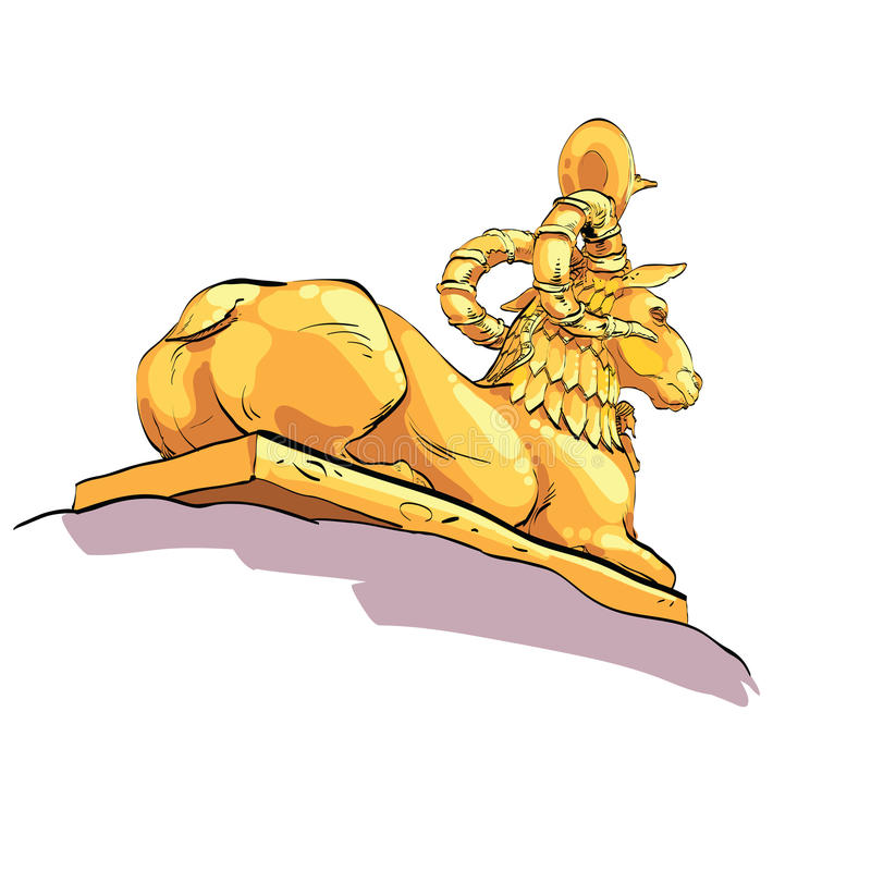 Fantastic Golden sheep from tales. Fantasy sculpture of mountain sheep with the Cobra on the head. Mythical animal. Fictional sculpture stock illustration