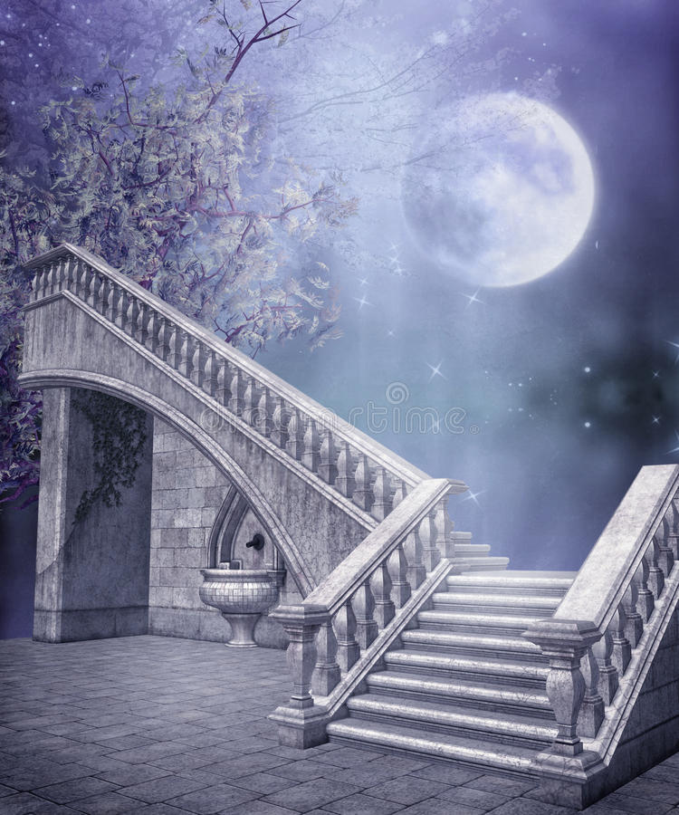 Fantasy marble stairs vector illustration