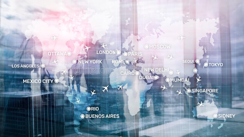 Global Aviation Abstract Background with planes and city names on a map. Business Travel Transportation concept. vector illustration