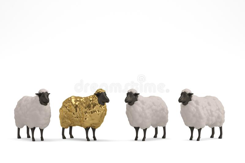 Golden sheep Isolated On White Background, 3D render. 3D illustration.  royalty free illustration