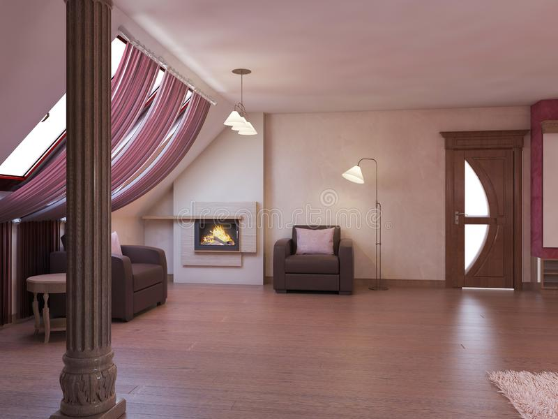 Home cinema in the attic in a modern style in burgundy and white colors. 3D rendering royalty fre