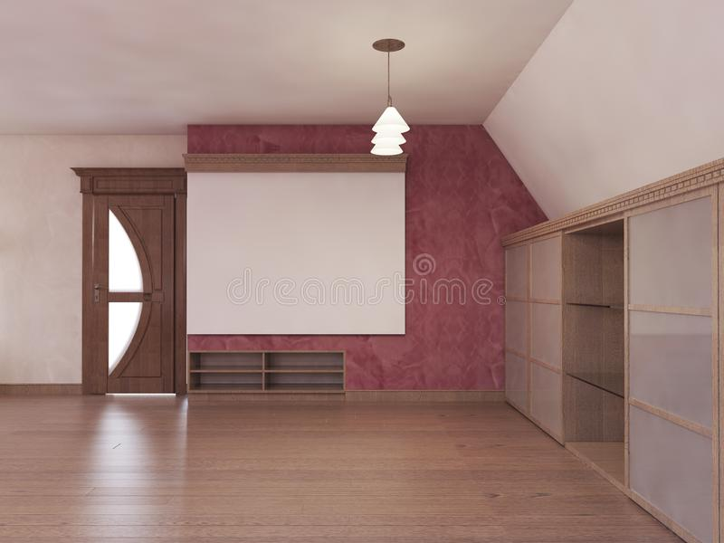 Home cinema in the attic in a modern style in burgundy and white colors. 3D rendering royalty free illustration