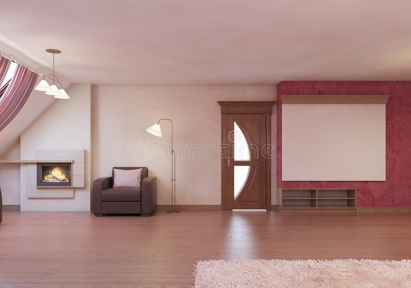 Home cinema in the attic in a modern style in burgundy and white colors. 3D rendering vector illustration