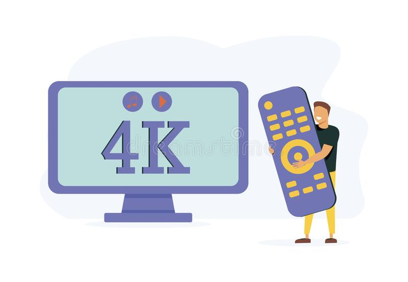 Home cinema, electronics and multimedia. Modern entertainment, leisure and pastime. UHD smart TV, smart TV box,. Smart TV accessories metaphors. Vector isolated royalty free illustration