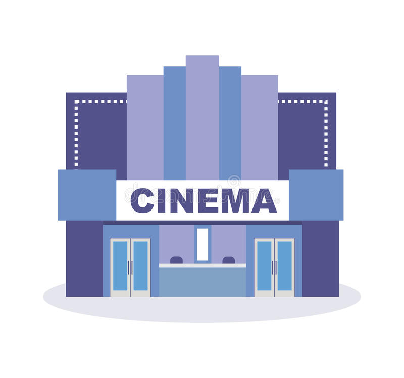 Modern building cinema theater, architectural structure. City building. Modern vector illustration isolated on white background royalty free illustration