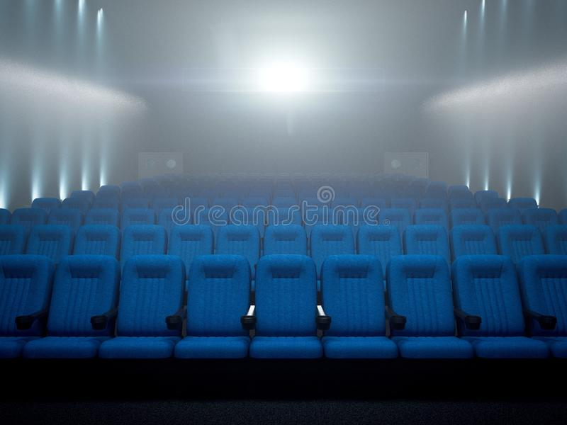 Modern cinema. 3d rendering. Modern cinema with blue chairs. 3d rendering vector illustration