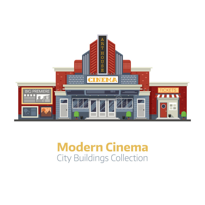 Modern Cinema Building Exterior. Modern cinema building facade isolated on white background. Movie theater exterior vector illustration. City culture and royalty free illustration