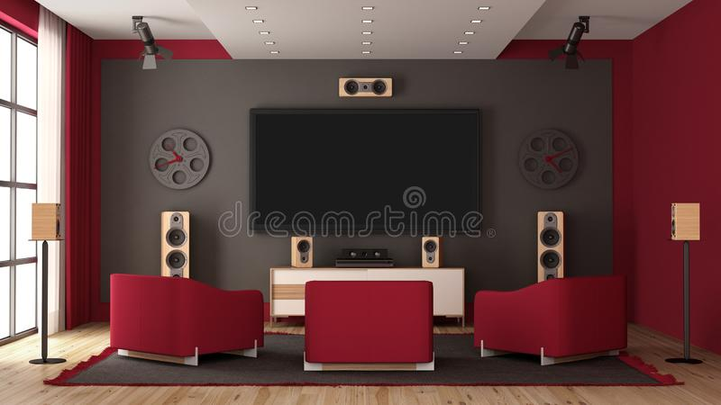 Modern home cinema with flat tv and audio equipment. Modern home cinema with flat tv, audio equipment and three red armchair - 3d rendering vector illustration