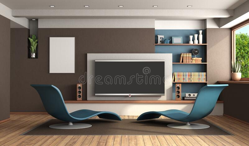 Modern living room with home cinema system. And two blue chaise lounges - 3d rendering royalty free illustration