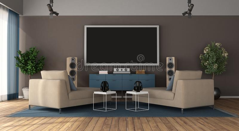 Modern living room with home cinema system. Modern living room with two chaise lounge and home cinema system - 3d rendering stock illustration