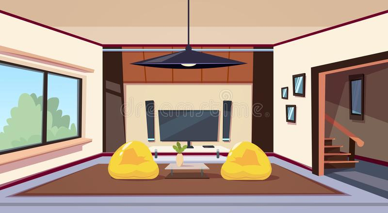 Modern Living Room Interior With Bean Bag Chairs And And Big Led Televison Set On Wall Home Cinema. Flat Vector Illustration royalty free illustration
