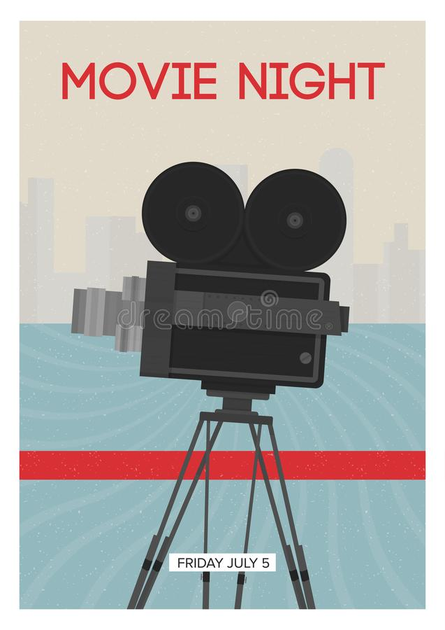 Modern poster or flyer template for movie night, premiere or cinema festival show time with retro film camera or. Projector standing on tripod. Colorful vector vector illustration