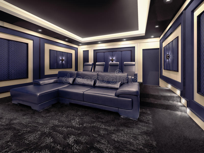 Modern private home cinema system. With beamer and canvas and many chairs. 3d illustration stock illustration
