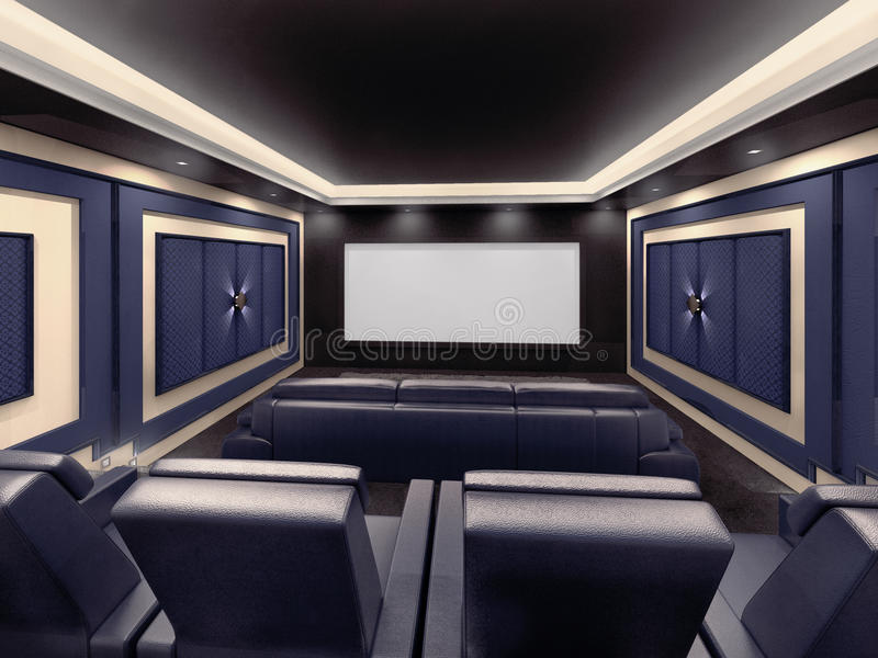 Modern private home cinema system. With beamer and canvas and many chairs. 3d illustration royalty free illustration