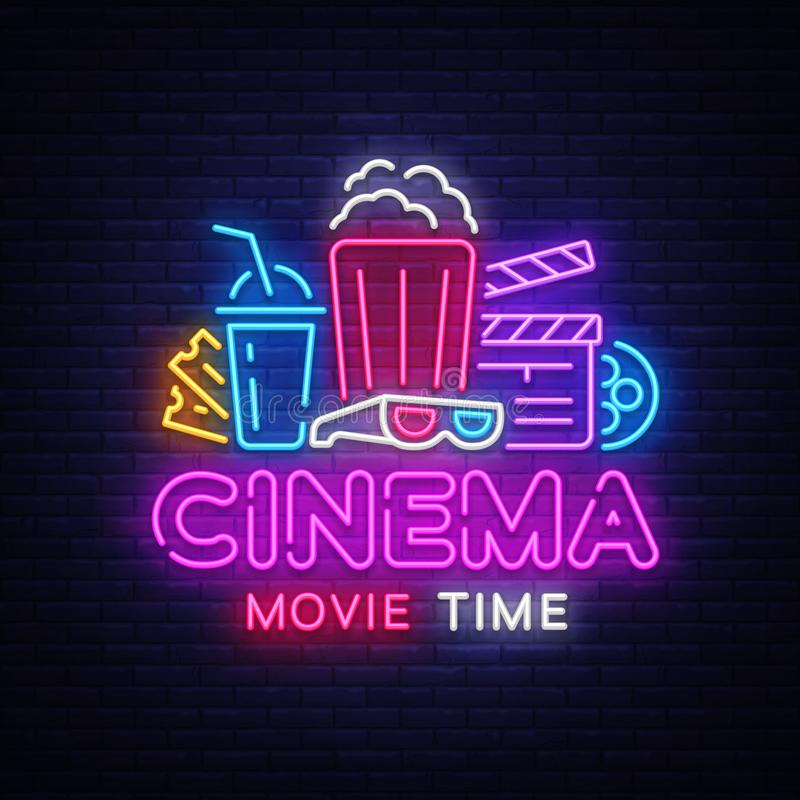 Movie Time Neon Logo Vector. Cinema Night neon sign, design template, modern trend design, night neon signboard, night. Light advertising, light banner, light royalty free illustration