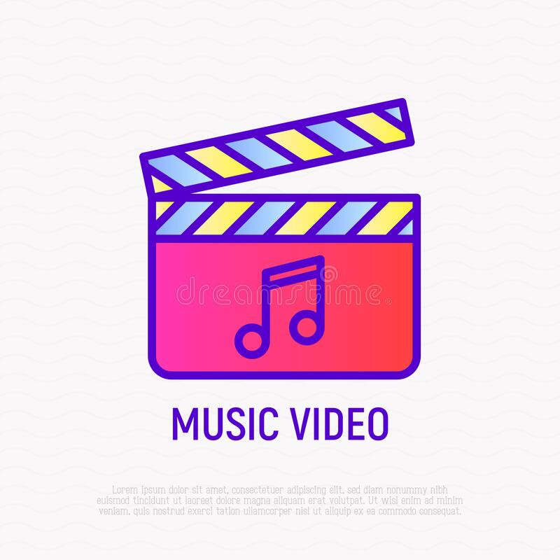 Music video thin line icon: cinema flapper with music note. Modern vector illustration for logo.  stock illustration