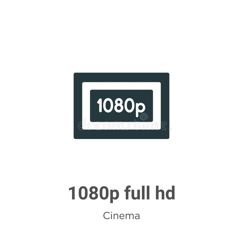 1080p full hd vector icon on white background. Flat vector 1080p full hd icon symbol sign from modern cinema collection for mobile. Concept and web apps design stock illustration
