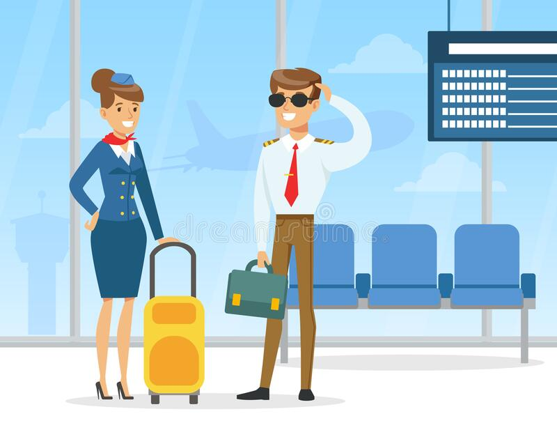 Pilot and Stewardess, Professional Aviation Crew Members in Uniform Standing with Luggage in Airport Vector Illustration vector illustration