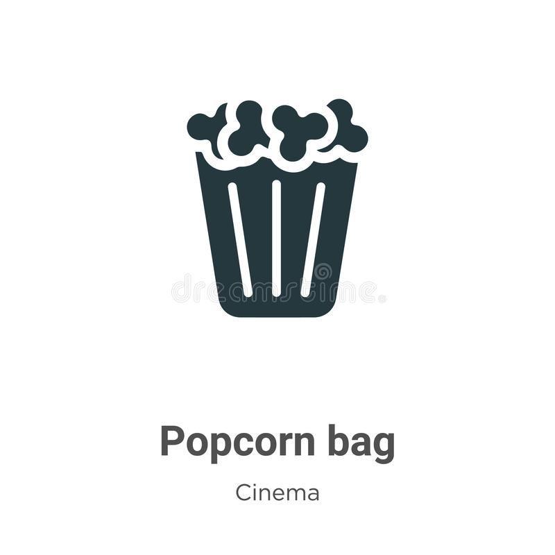 Popcorn bag vector icon on white background. Flat vector popcorn bag icon symbol sign from modern cinema collection for mobile. Concept and web apps design royalty free illustration