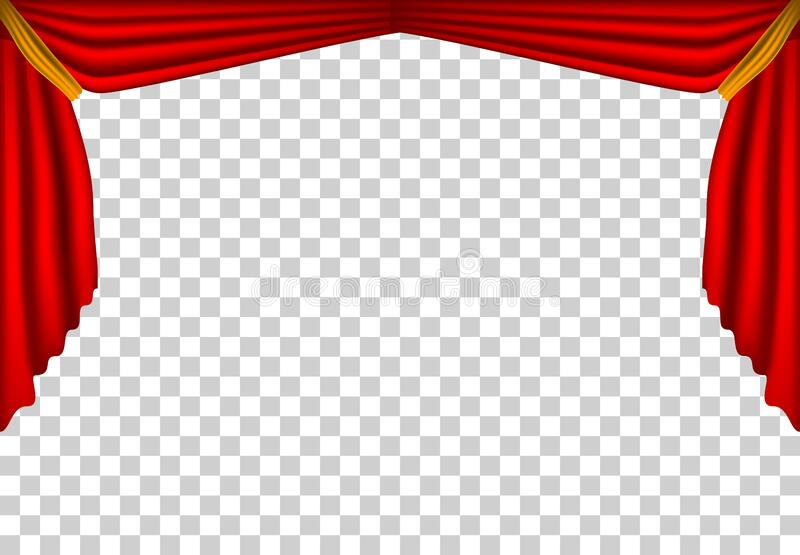Realistic theater curtains, stage cinema, red background template decorations, movie , ceremony , presentation , modern template w. Indows backdrop royalty free illustration