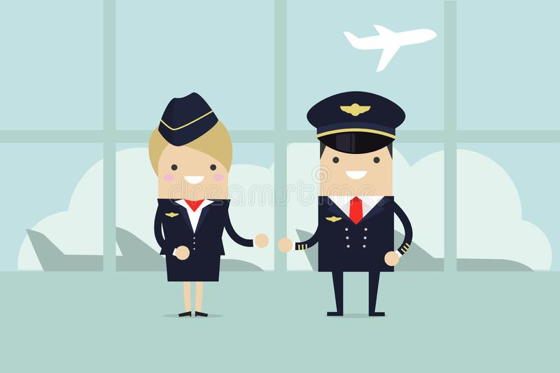 Professional aviation crew members. Crew of civil airplane in the airport building. royalty free illustration