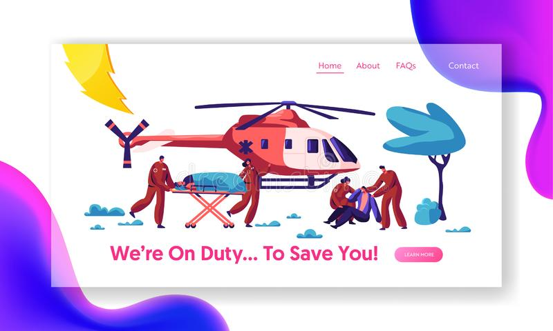 Professional Medicine Rescue Landing Page. Paramedic Urgent Injured Character Flight by Aviation Copter to Hospital royalty free illustration