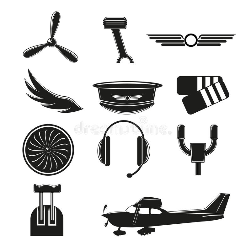 Set of aviation icons. Small aviation symbols and elements vector illustration