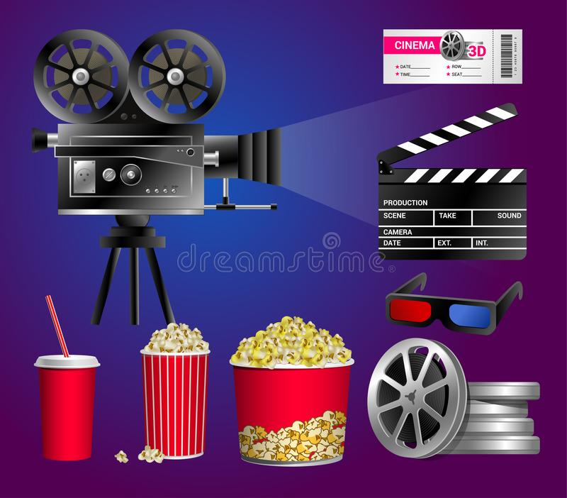 Set of cinema objects - modern vector realistic clip art. On blue and purple background. Popcorn box, cup for beverages with straw, film strip, ticket, clapper royalty free illustration