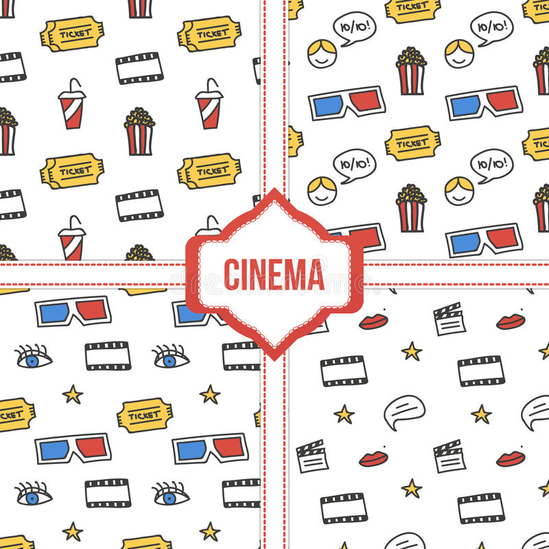 Set, collection of four simple modern colorful cinema, movie seamless patterns.  vector illustration