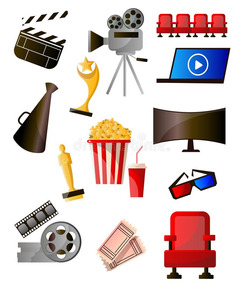 Set of colorful cinema icons different modern object. And tools. Cartoon style. Vector illustration on white background royalty free illustration