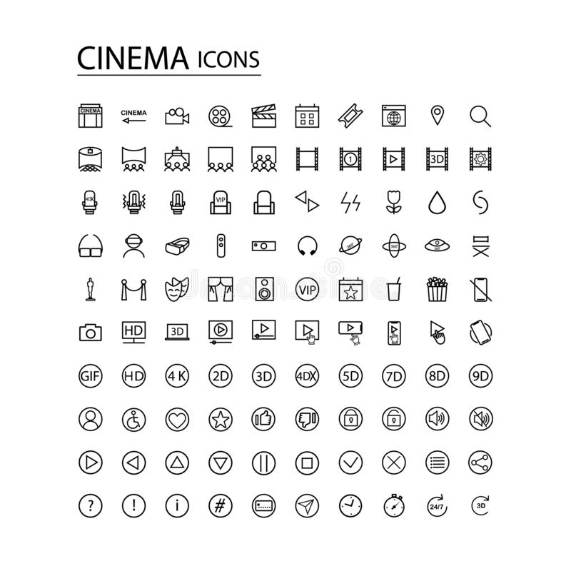 Set icons modern cinema. TV. Set icons modern cinema. Contains such icons as movie, clip, virtual reality, popcorn, tickets,3d glasses, award and more vector illustration
