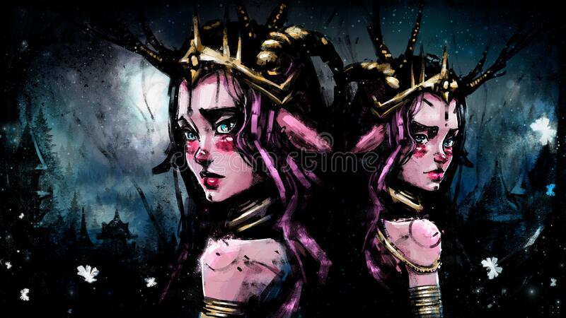 A series of illustrations made with texture brushes. Sister Princess fauns, amid forest city royalty free illustration