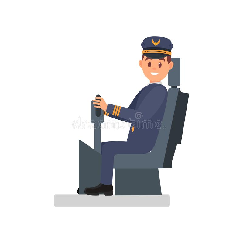 Smiling man sitting on captain s chair. Professional pilot of passenger plane. Isolated flat vector illustration vector illustration