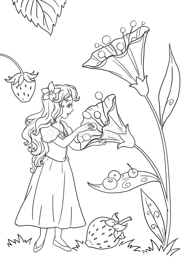 Thumbelina coloring page illustration. Coloring book page with Thumbelina among flowers and berries royalty free illustration