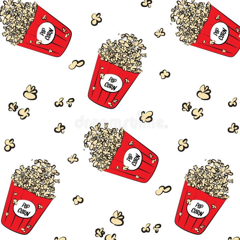 Vector modern cinema pattern. Cool pop corn boxes and corn explosion parts. Movie background. Entertainment weekend texture.  vector illustration
