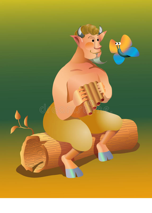 Vector satyr. A honey satyr sitting on tree looks a butterfly royalty free illustration